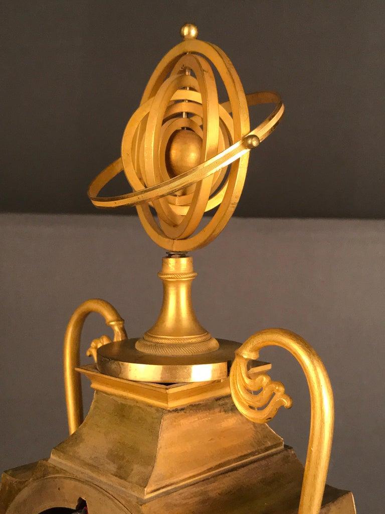 Unique Empire Bronze Clock, Pendulum, Fire-Gilded, circa 1810 10