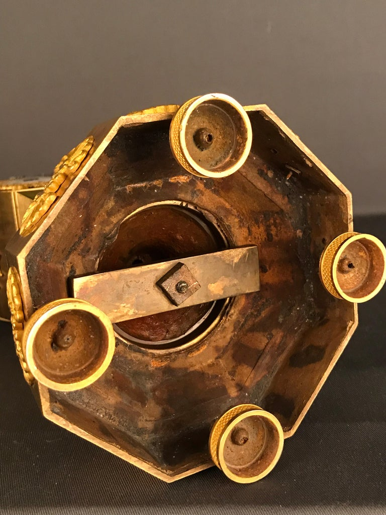 Unique Empire Bronze Clock, Pendulum, Fire-Gilded, circa 1810 12