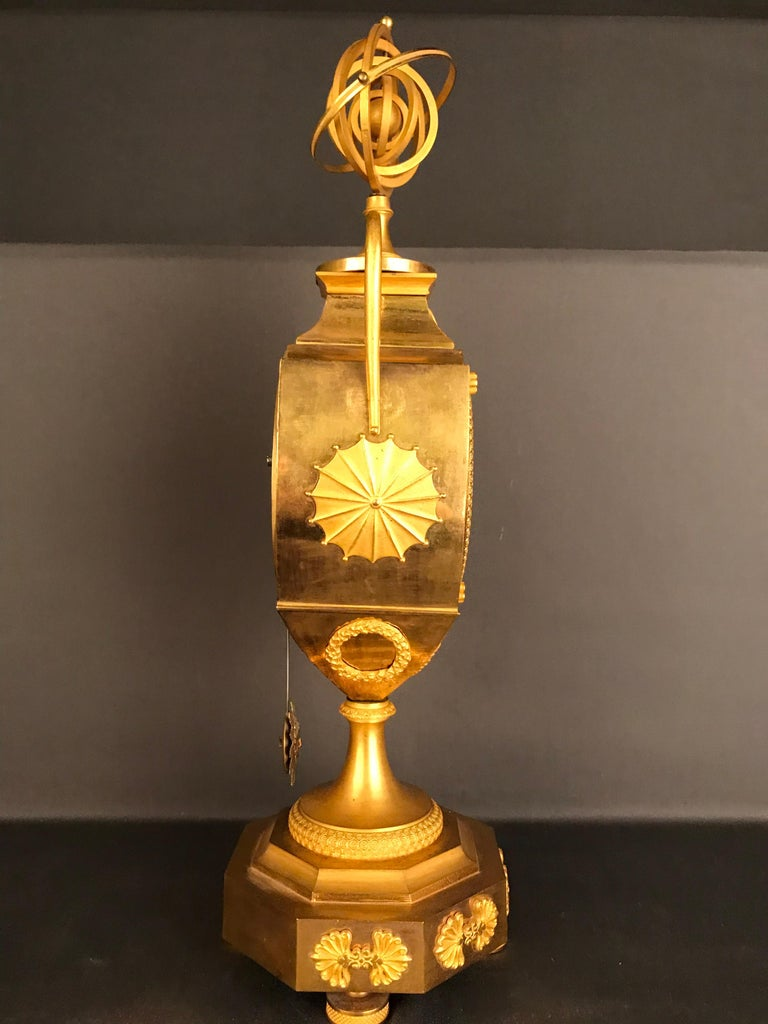Unique Empire Bronze Clock, Pendulum, Fire-Gilded, circa 1810 3