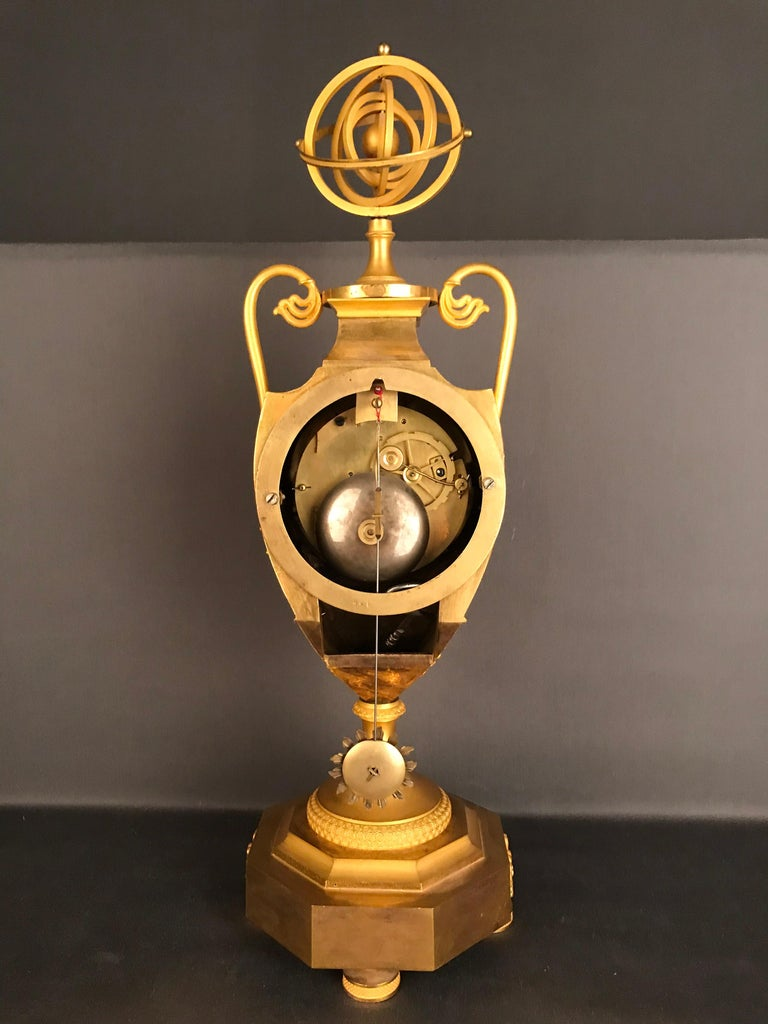 Unique Empire Bronze Clock, Pendulum, Fire-Gilded, circa 1810 4
