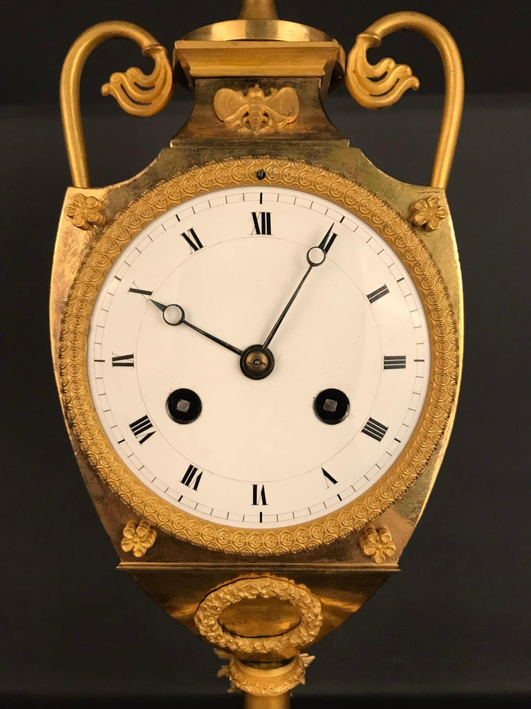 Unique Empire Bronze Clock, Pendulum, Fire-Gilded, circa 1810 6