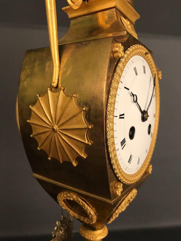 Unique Empire Bronze Clock, Pendulum, Fire-Gilded, circa 1810 7