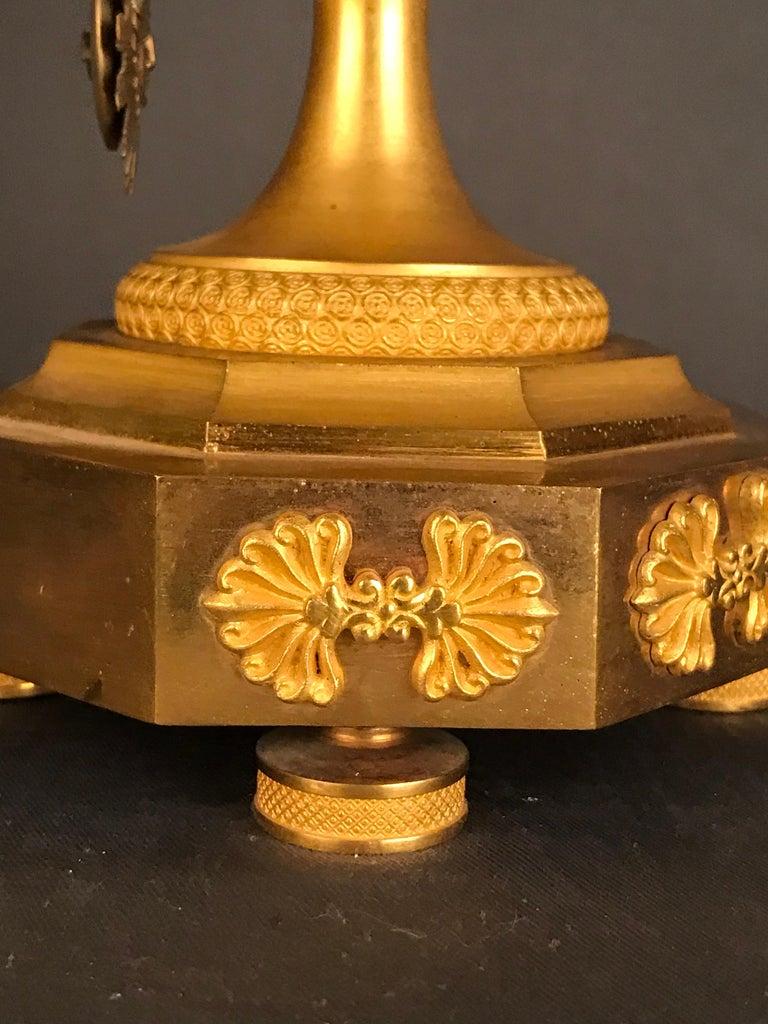Unique Empire Bronze Clock, Pendulum, Fire-Gilded, circa 1810 8