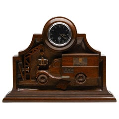 Unique English WWII Carved Wood Ambulance Clock with Smiths Movement, circa 1943