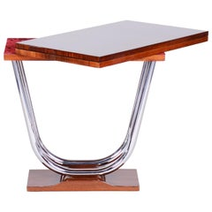 Unique Extendable Art Deco Coffee - Card Table, Chrome and Palisander, 1920s
