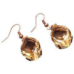 Unique Fancy Cut Golden Citrine Earrings in 14 Karat Yellow Gold