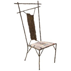 Unique Faux Bois Chair, Artist Made of Hand Worked Iron, One of a Kind