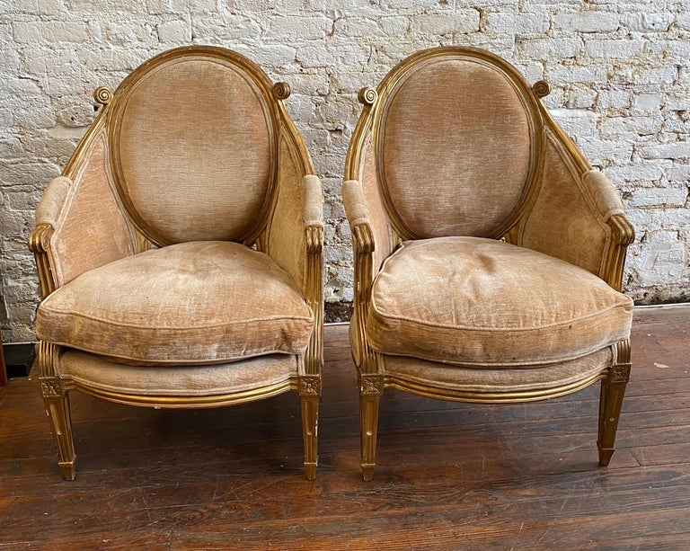 Unique & Fine Pair of 19th Century Louis XVI Giltwood Bergeres, Probably French  For Sale 1