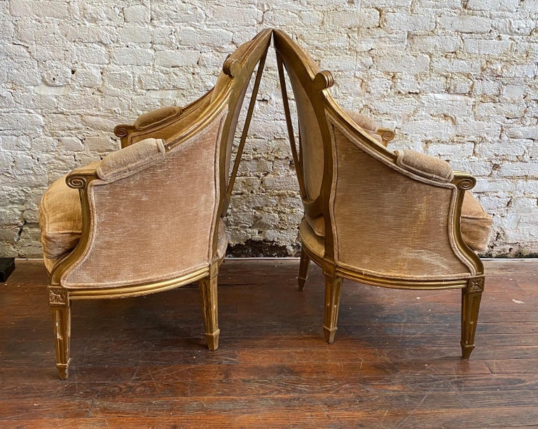 Unique & Fine Pair of 19th Century Louis XVI Giltwood Bergeres, Probably French  For Sale 2