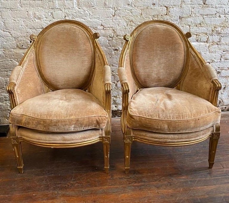 Unique & Fine Pair of 19th Century Louis XVI Giltwood Bergeres, Probably French  For Sale 3