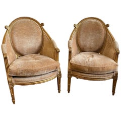 Unique & Fine Pair of 19th Century Louis XVI Giltwood Bergeres, Probably French