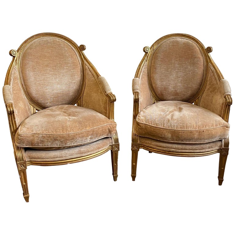 Unique & Fine Pair of 19th Century Louis XVI Giltwood Bergeres, Probably French  For Sale