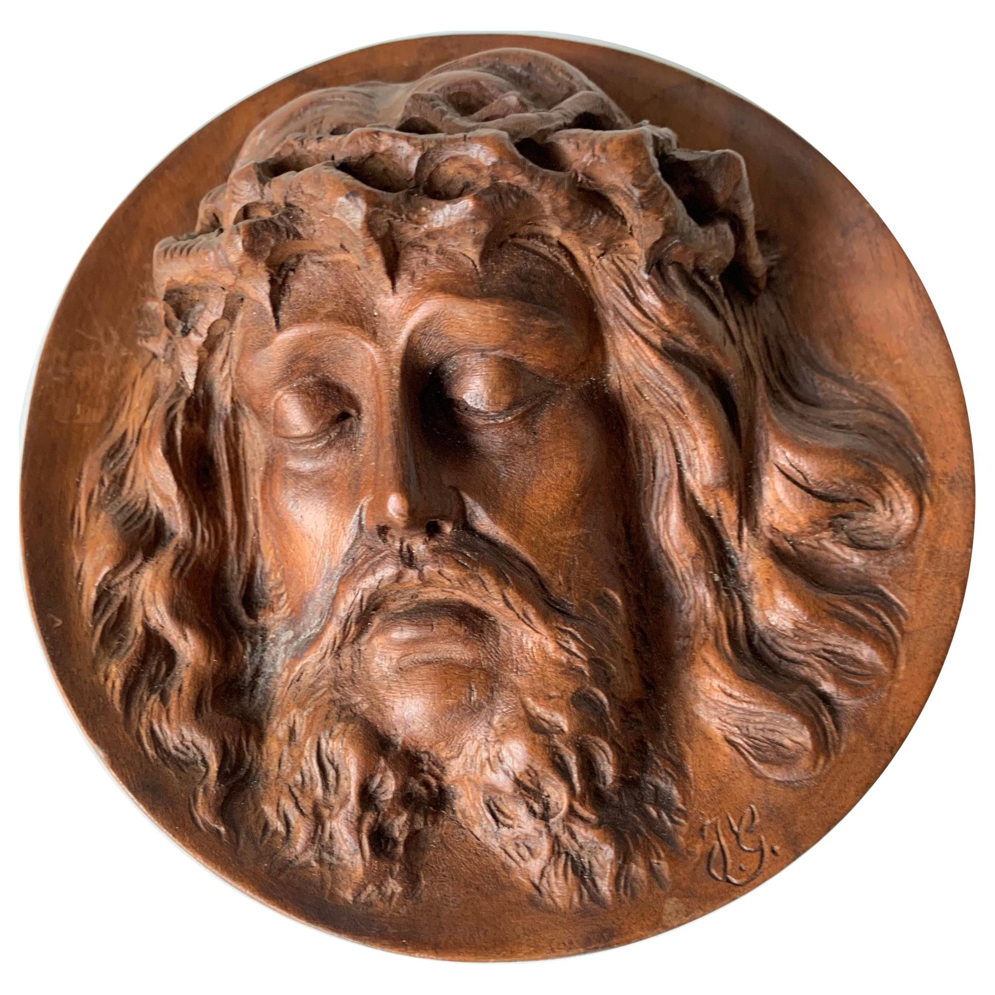 Unique and Finely Hand Carved, 19th Century Christ Mask Medallion / Round Plaque