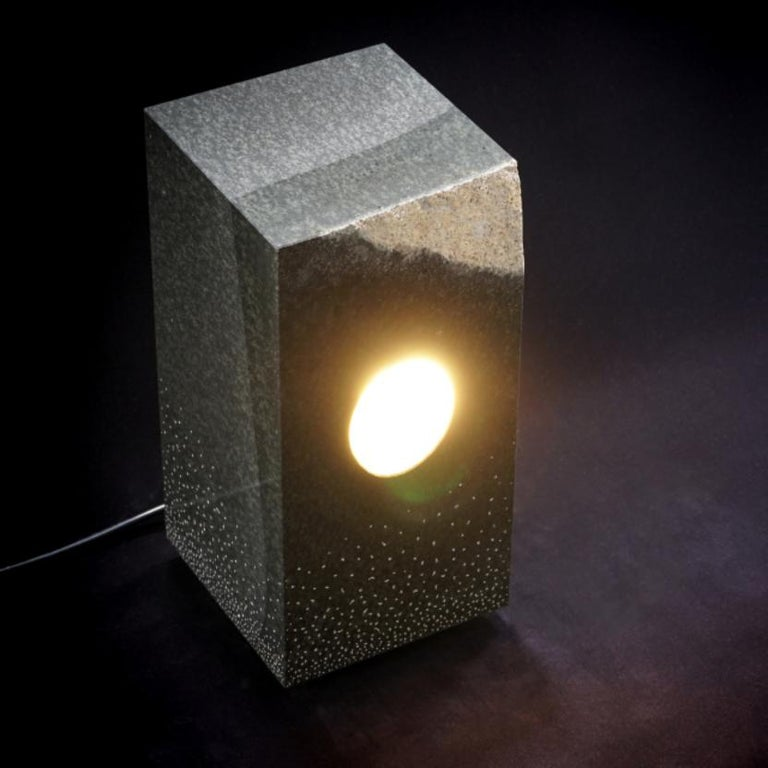 Unique floor lamp, Daté Kan Stone Design by Okurayama Materiel: Daté Kan Stone  Sculpted in the Okurayama's Studio in Miyagi's Prefecture, Japan Each creation is unique due to the uniqueness of the stone aesthetic Dimensions: W185*D190*H373mm /