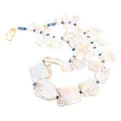 Unique Floppy Cultured Pearls and Blue Kyanite Neckace