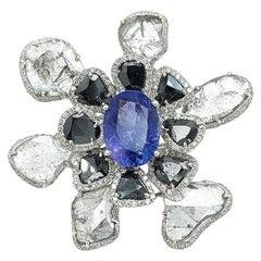 Unique Flower Ring with Tanzanite, Black, Grey and White Diamonds