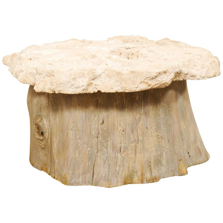 Unique Fossilized Coral Top Coffee Table On Wood Stump
