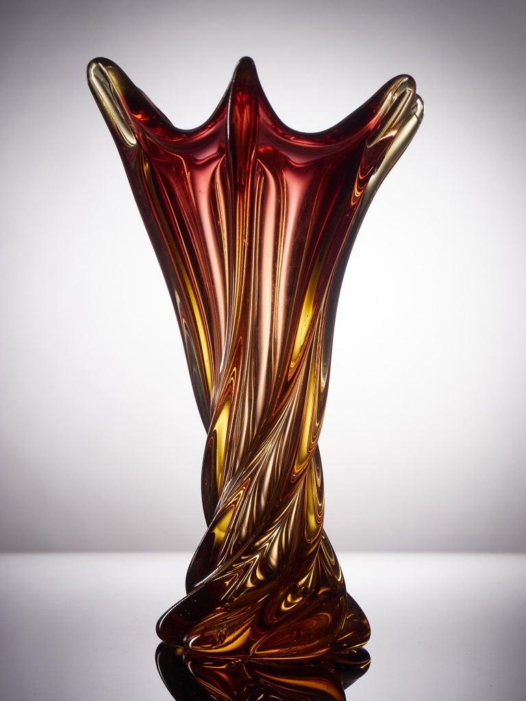 20th Century Unique Freeform Honey Amber Murano Glass Vase For Sale