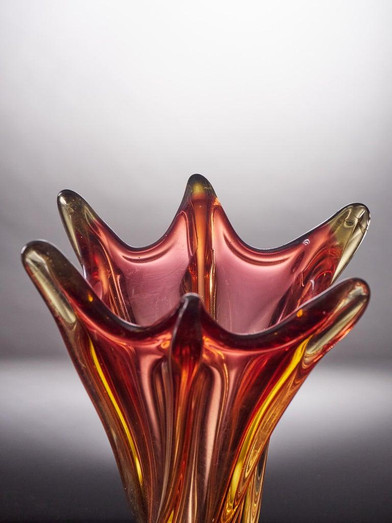 Unique Freeform Honey Amber Murano Glass Vase For Sale 1