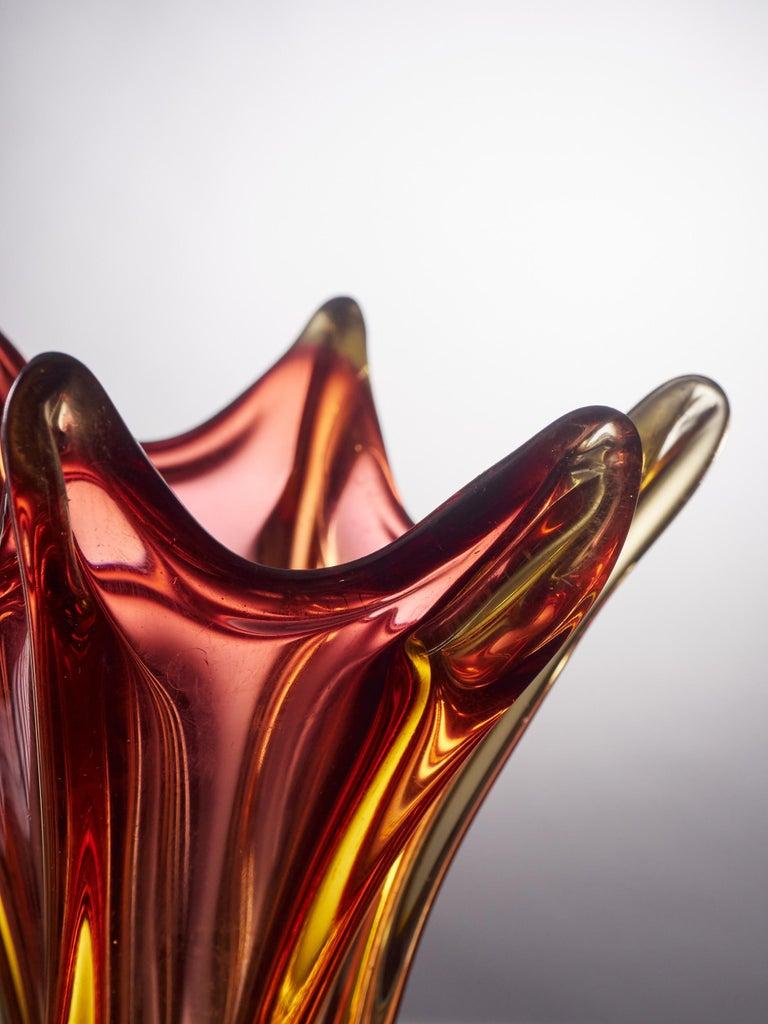 Unique Freeform Honey Amber Murano Glass Vase For Sale 3