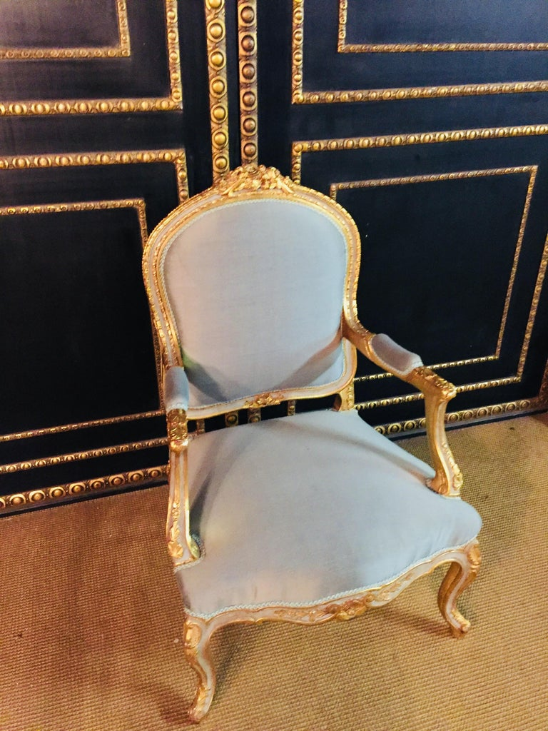 Unique French Armchair in Louis Quinze Style For Sale 5