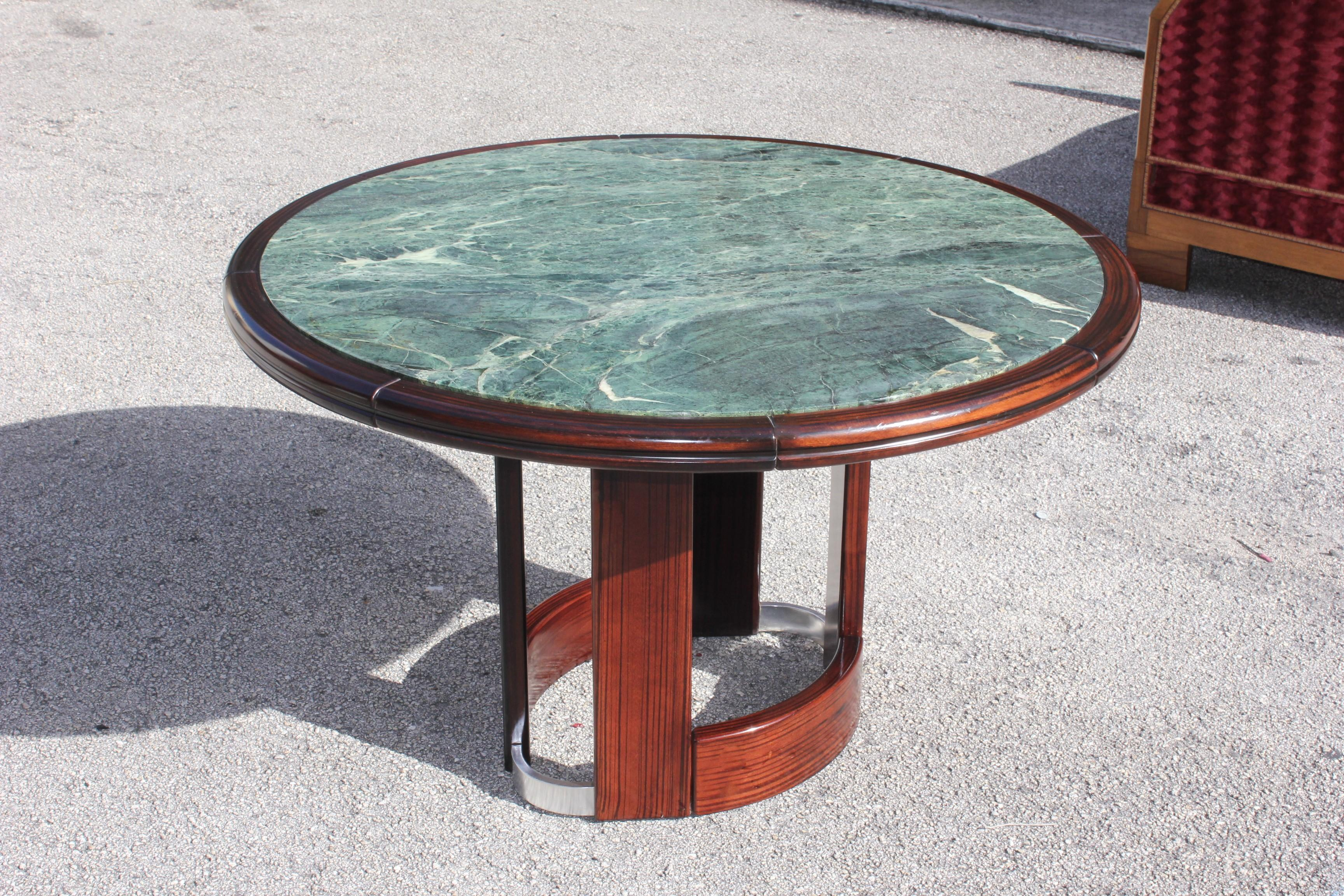 1900-1950 Monumental French Art Deco Macassar Ebony Round Center Table Or Dining Table .