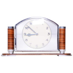 Unique French Art Deco Walnut Table Clock High Gloss, Preserved Condition, 1930s