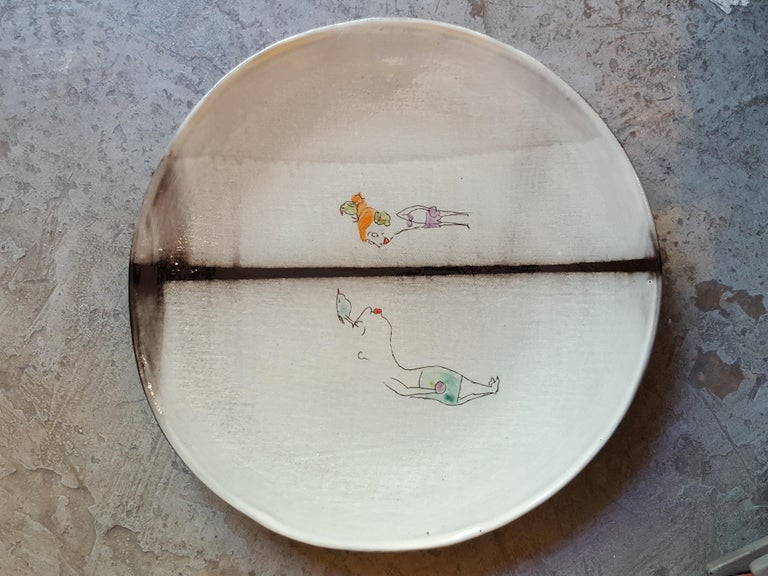 Ceramic earthenware faience dinner soup plate artist creation, all handmade in France. Or beautifully as wall decoration as well. Using plaques of dark faience, graffiti, paint and enamel. Decoration hand painted with the artist's creative poetic