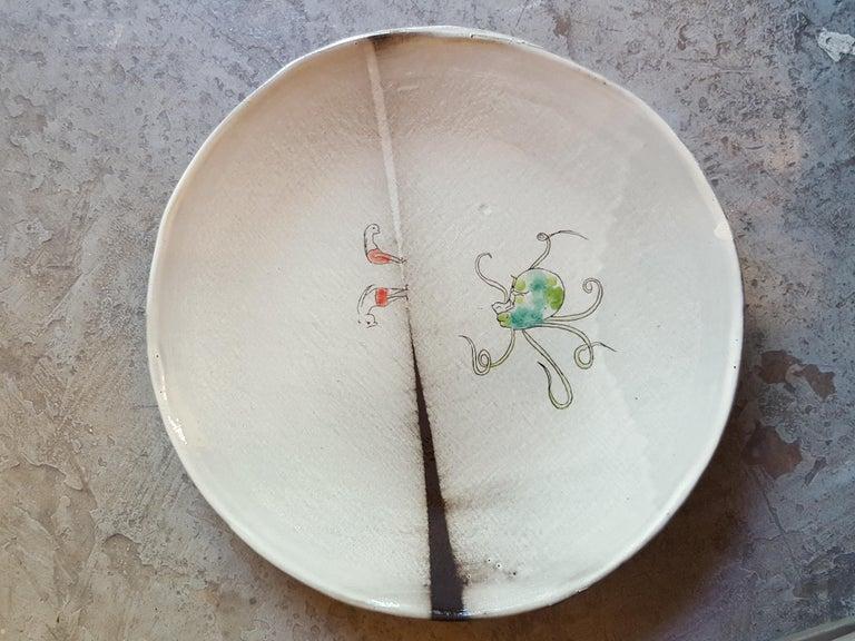 Enameled Unique French Artist Ceramic Dinner Soup Plates For Sale