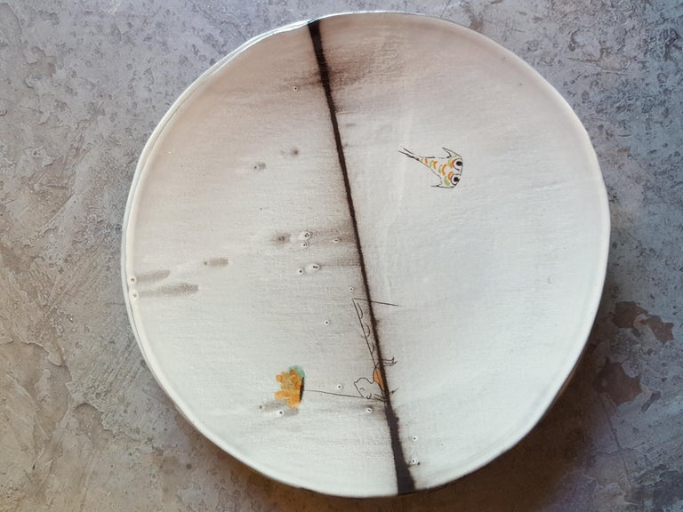 Unique French Artist Ceramic Dinner Soup Plates In Excellent Condition For Sale In Paris, FR