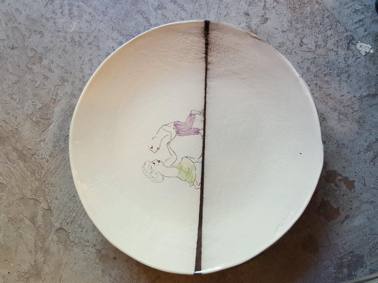 Contemporary Unique French Artist Ceramic Dinner Soup Plates For Sale