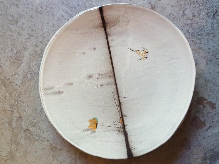 Enameled Unique French Artist's Ceramic Dinner Plates For Sale