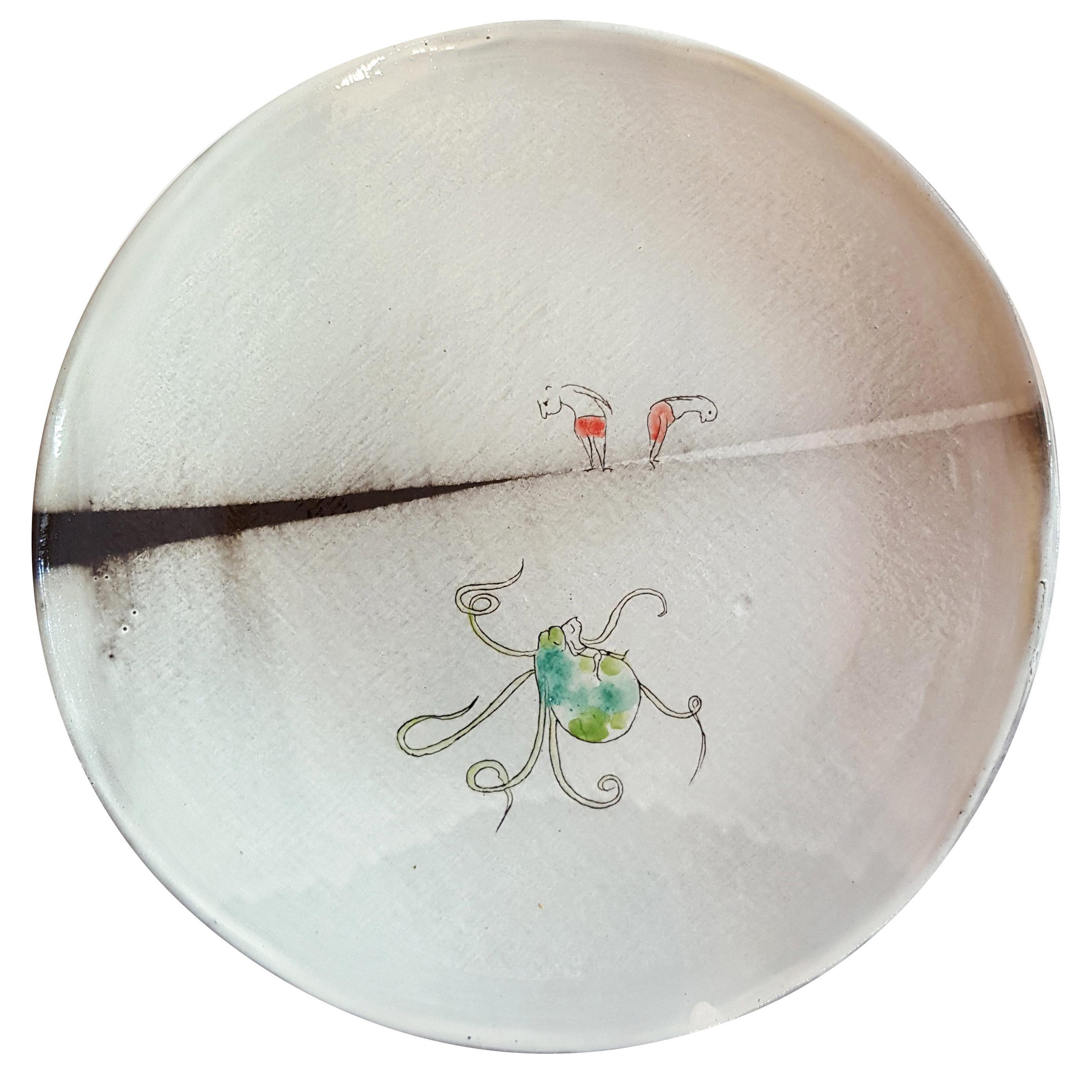 Unique French Artist's Ceramic Dinner Plates