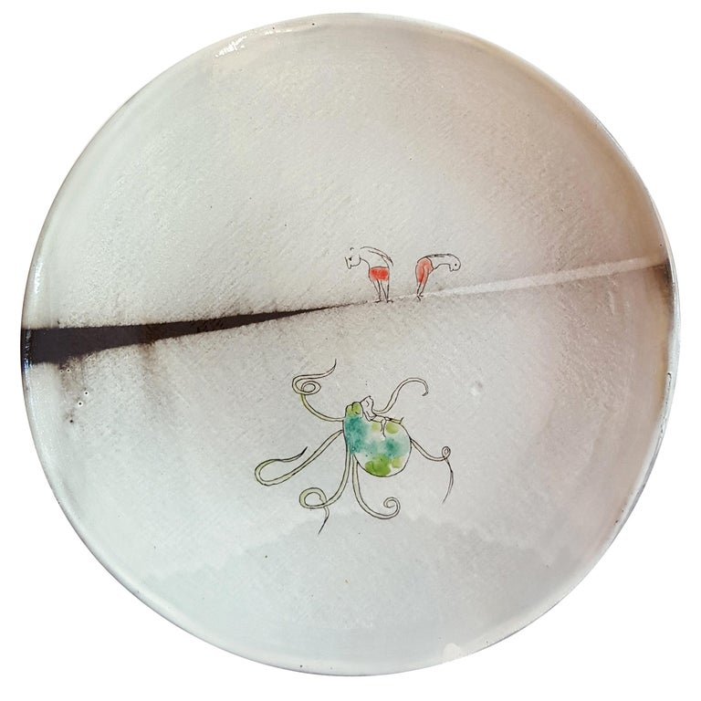 Unique French Artist's Ceramic Dinner Plates For Sale