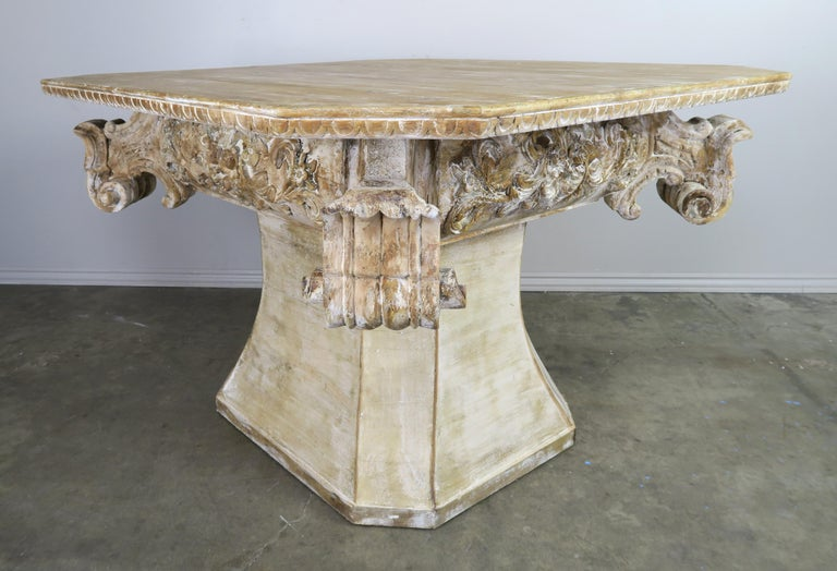 Unique French Carved Wood Dining or Center Table, circa 1930s For Sale 4