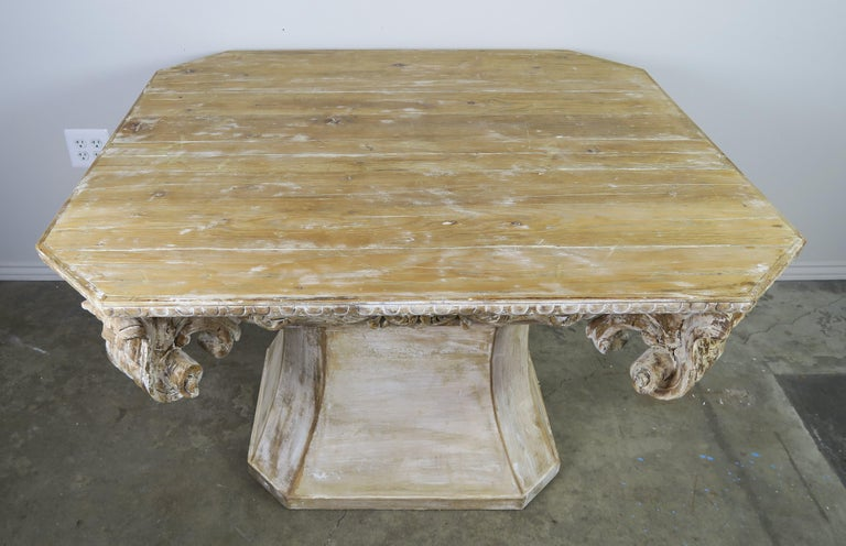 Unique French Carved Wood Dining or Center Table, circa 1930s For Sale 5