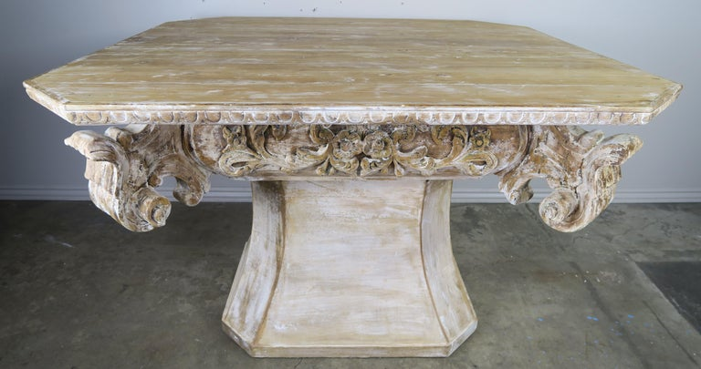Unique French Carved Wood Dining or Center Table, circa 1930s For Sale 6