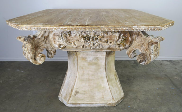 Rococo Unique French Carved Wood Dining or Center Table, circa 1930s For Sale