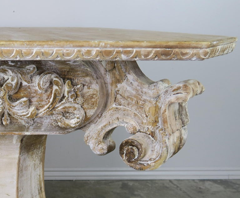 Unique French Carved Wood Dining or Center Table, circa 1930s In Distressed Condition For Sale In Los Angeles, CA