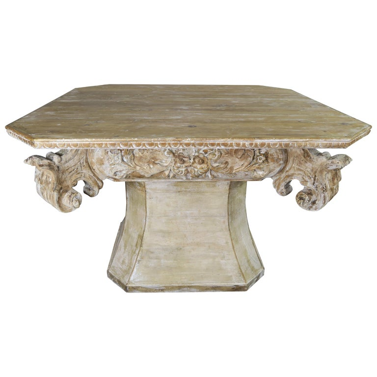 Unique French Carved Wood Dining or Center Table, circa 1930s For Sale