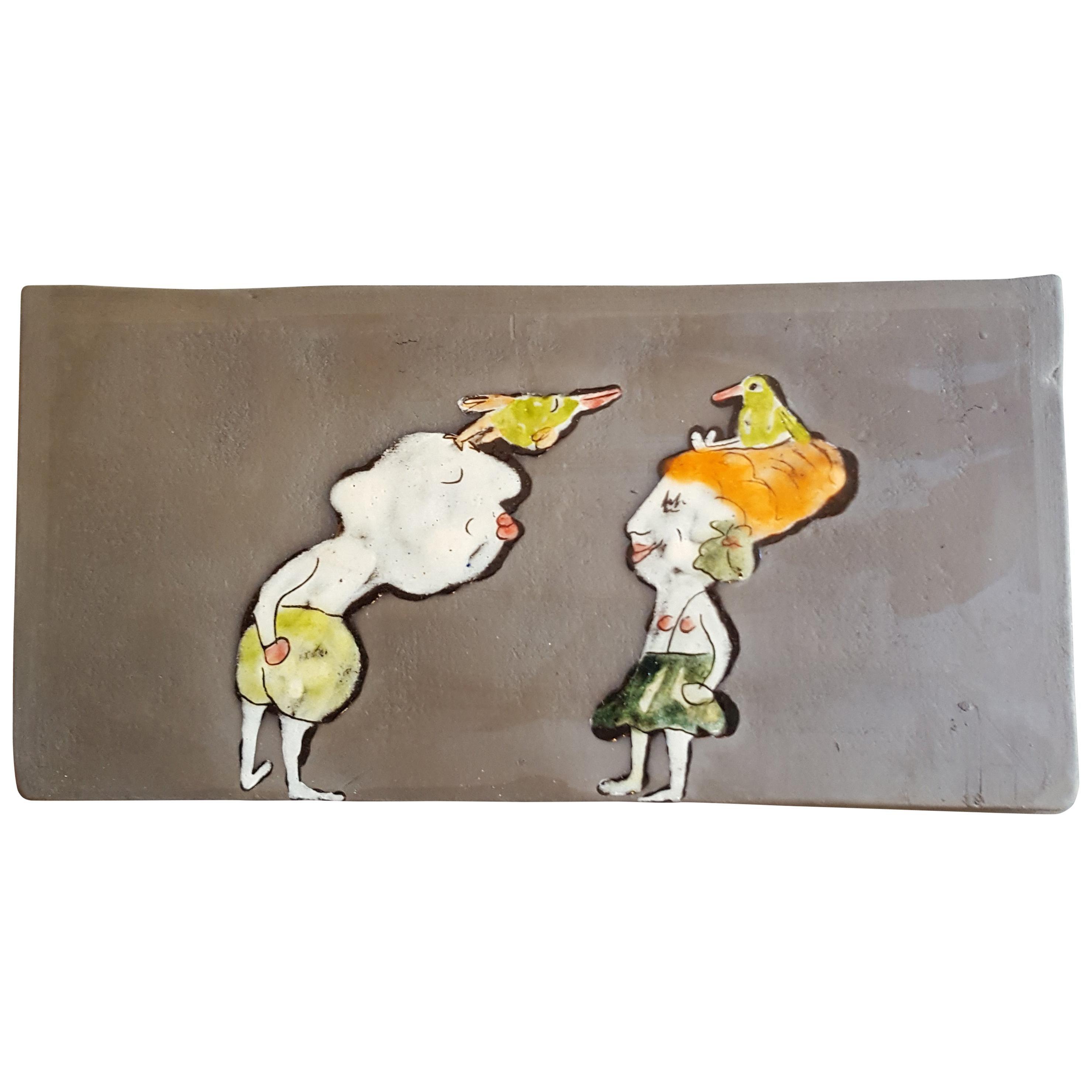 Unique French Ceramic Rectangular Artist's Decoration Panel