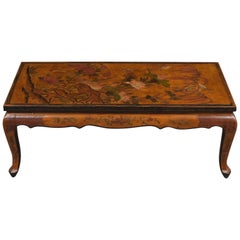 Unique French Chinoiserie Painted Low Coffee Table