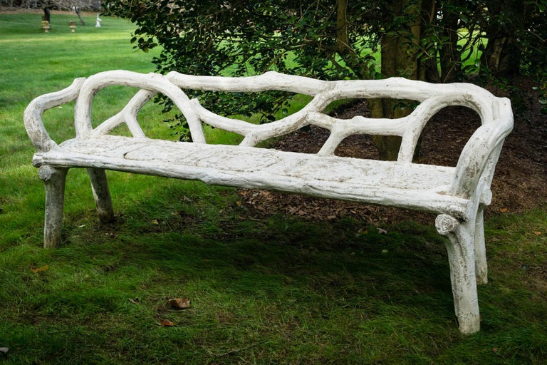 Unique French Long White Cement Bench In Good Condition For Sale In Mt Kisco, NY