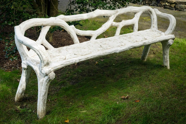 Unique French Long White Cement Bench For Sale 4