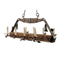 "Unique French Midcentury Wooden Beam and Iron ""Belted"" Gentleman's Chandelier"