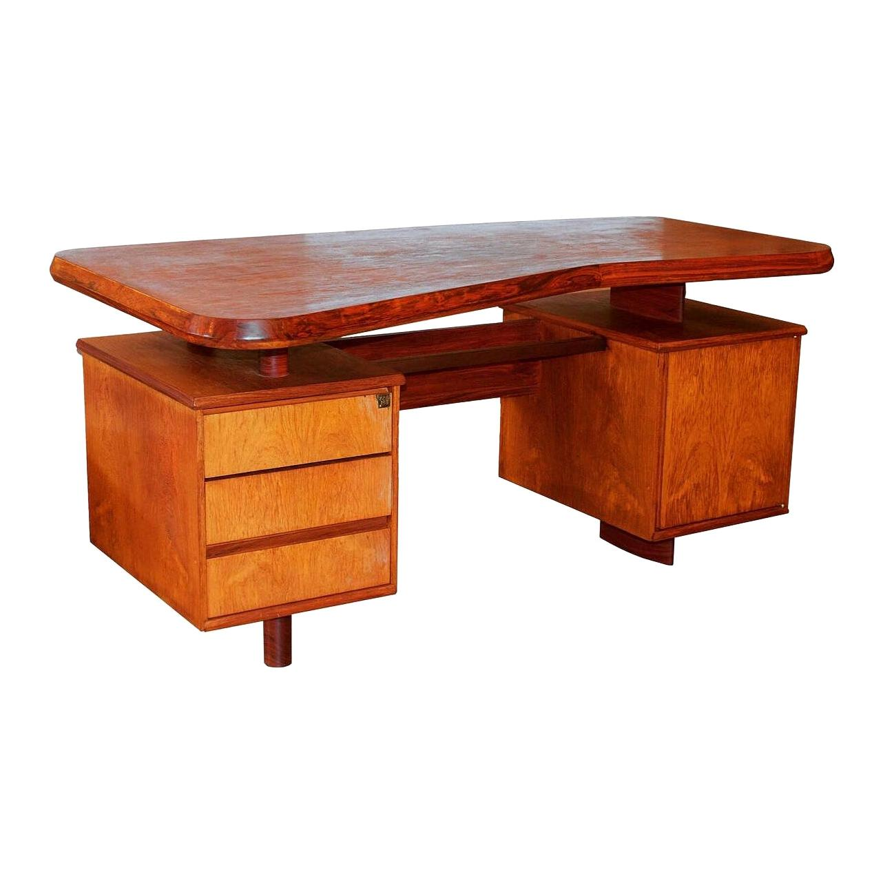 Unique French Modern Solid Rosewood Desk, Pierre Chapo, 1950s