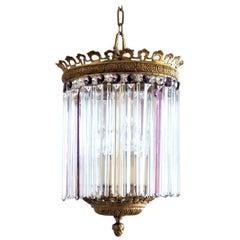 Unique French Regency Gilt Bronze Crystal Prism Four-Light Lantern or Chandelier