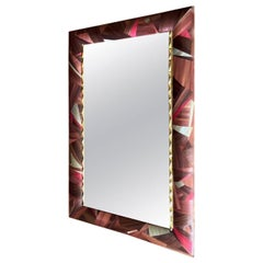 Unique French Straw and Brass Marquetry Mirror La Vie en Rose