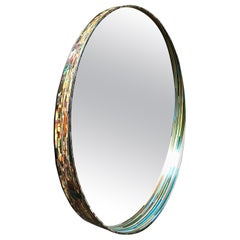 Unique French Straw Marquetry Multi-Color Mirror