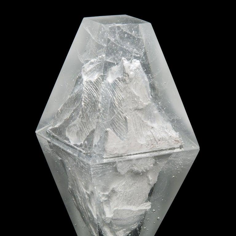 Cast Unique Frost, a Clear Unique Glass Sculpture by Lene Tangen For Sale
